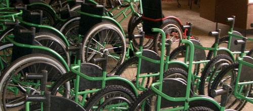 army of wheelchairs ready to be distributed